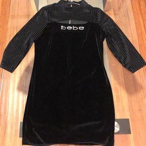 Bebe Black Velvet logo Mini Dress M